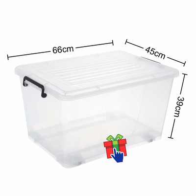 Caja organizador canasto pl stico 95 lts apilable con for Cajas plasticas con ruedas