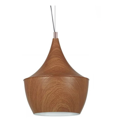 Lampara Colgante Fat Simil Madera Nordico Moderno Apto Led