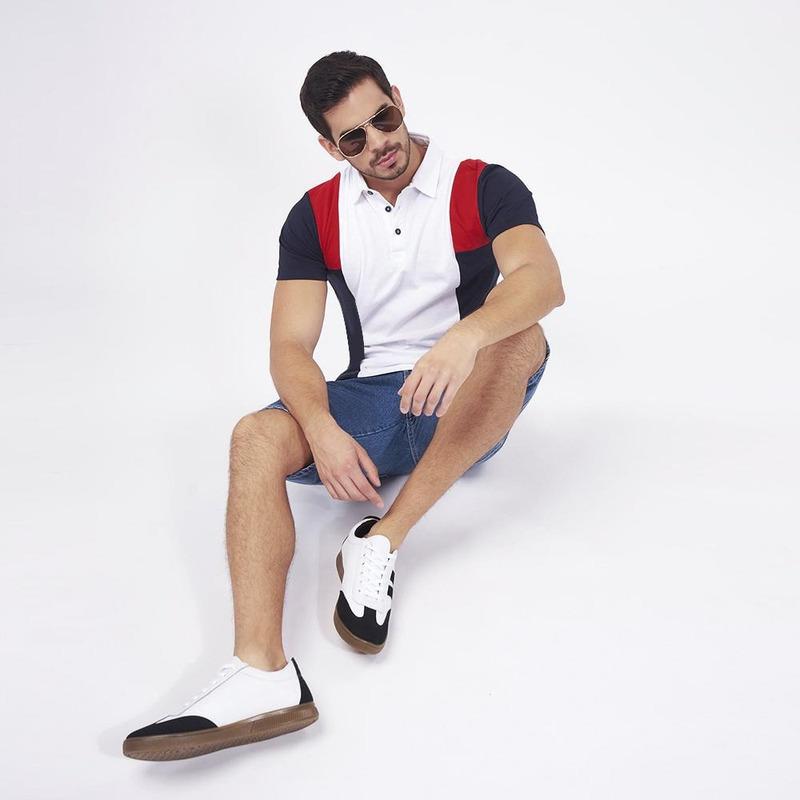 Camisa Blanca Con Lados Multicolor 019292