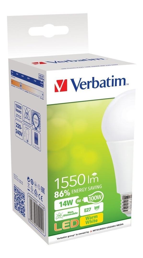 Lampara Led Foco 14w Blanco Calido Bulbo Verbatim