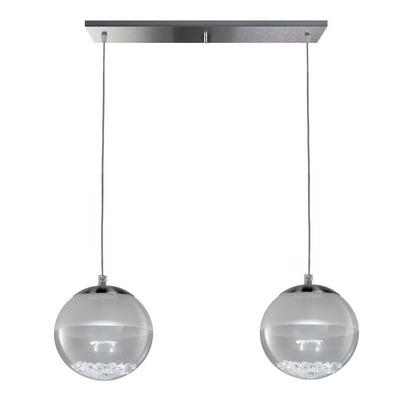 Colgante 2 Luces Globo Led Cairel Cristal Deco Moderno