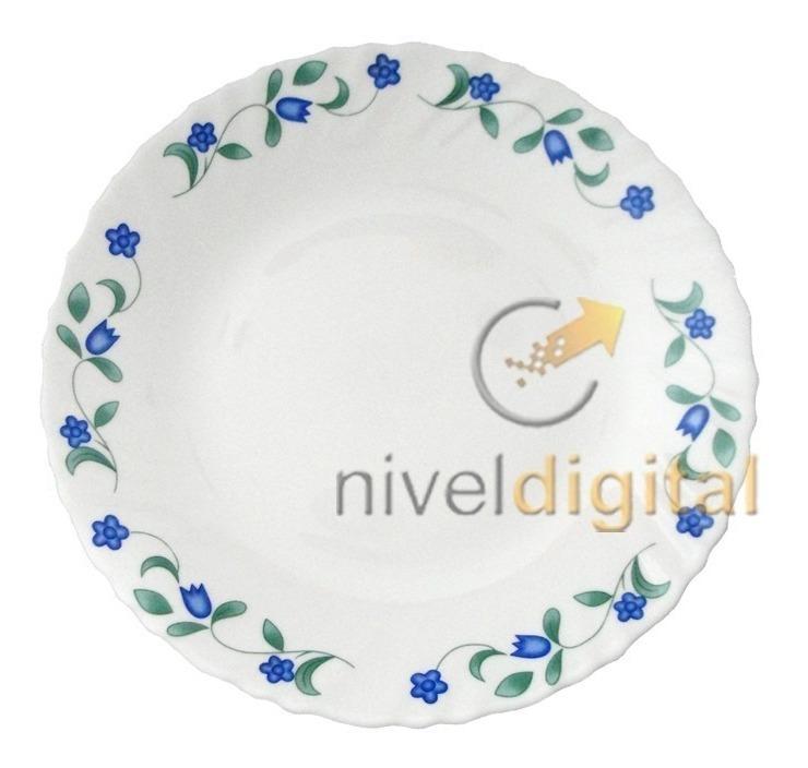 Set 27 Pzs Vajilla Platos Vidrio Blanco Decorado Flores Azul