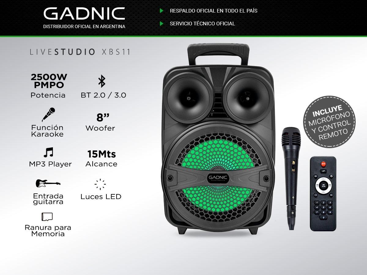Parlante Portatil Bluetooth 2500w Led 1 Microfono Xbs1 Gadni