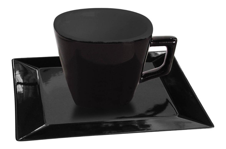 6 Tazas Pocillo 75 Ml Porcelana Negro Plato Cuadrad Oxford