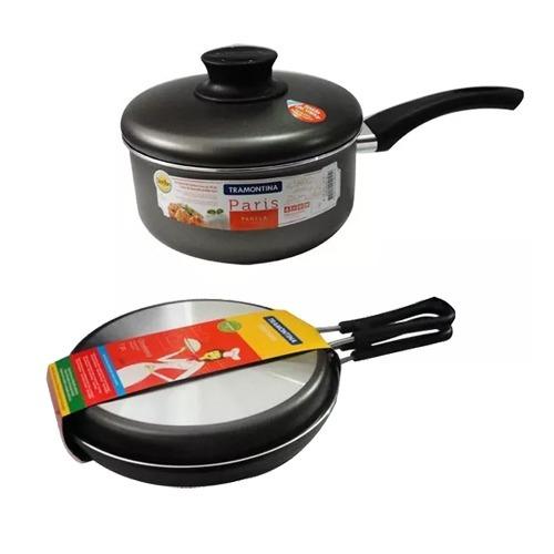 Set X 2 Pzs Tramontina Teflon Sarten Omelete 24 Cacerola 20