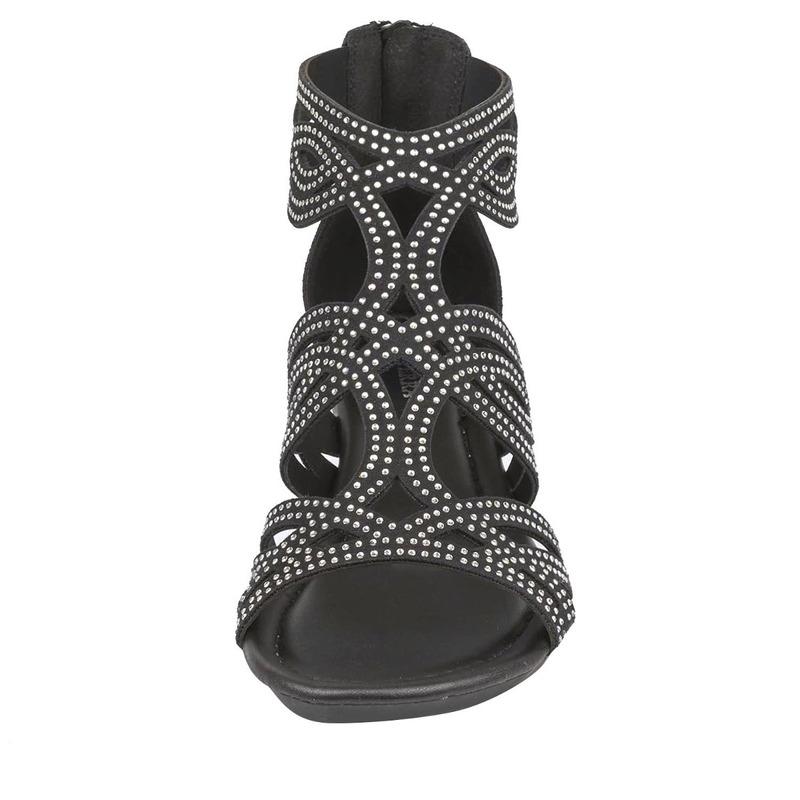 Sandalia plataforma negra con brillos 016787