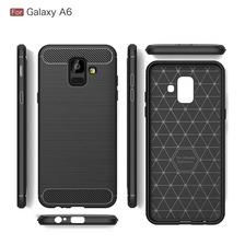 Funda Tpu Simil Carbono Samsung A6 A8 Plus + Glass Templado