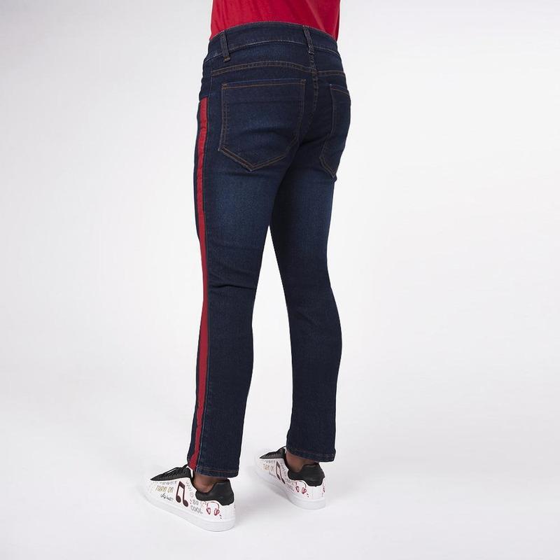 Pantalón Azul Mezclilla Con Línea Roja 019248