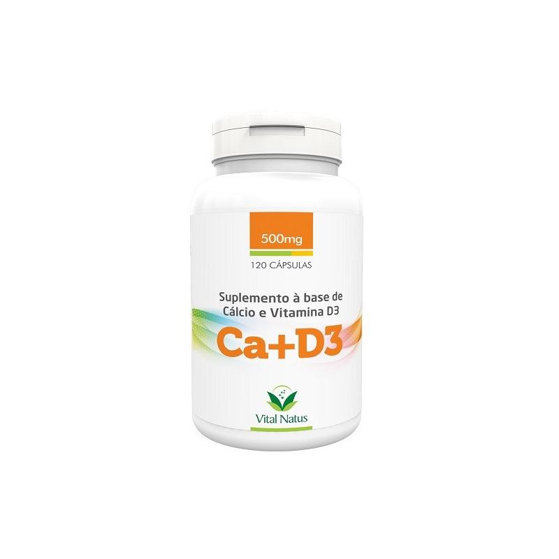 Ca+D3 (Carbonato de Calcio+D3) 120 Caps. 500mg Vital Natus