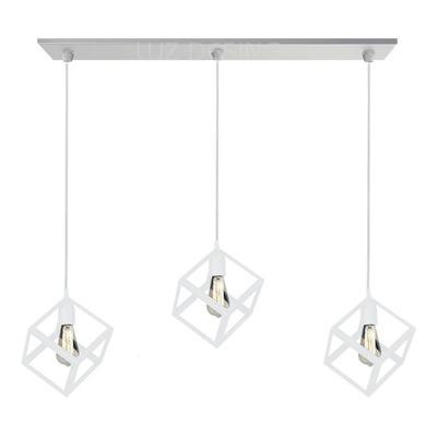Colgante Jaula 3 Luces Cubo Blanco Moderno Vintage Led 1007