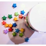 Frasco de estrellitas de la suerte en origami