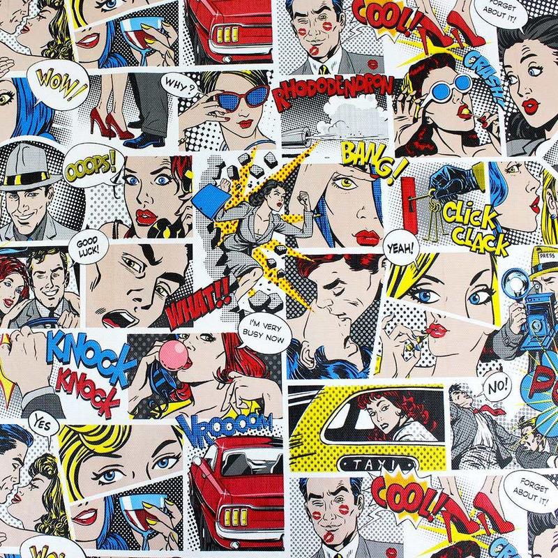 Tecido corino gibi comics - Larg. 1,40 m