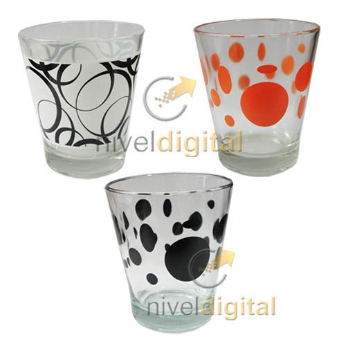 6 Vasos Conicos Vidrio Durax Decorado Motivos Eventos Bar