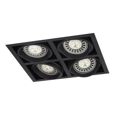 Spot Plafon Cardanico Embutir 4 Luces Negro Ar111 Gu10