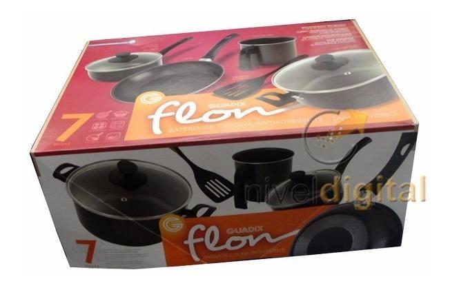 Bateria Cocina Guadix 7 Pzs Teflon Antiadherente Tapa Vidrio