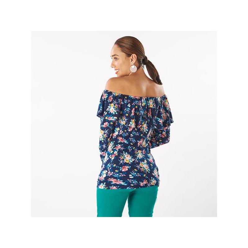 Blusa azul estampada manga larga olán 019223
