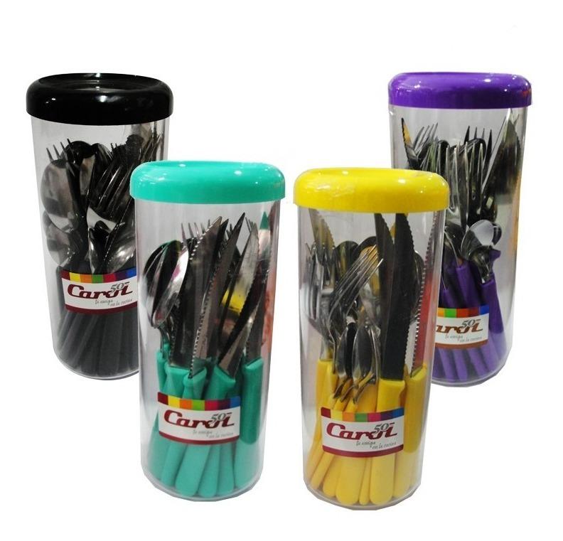 6 Sets De 24 Cubiertos Carol Mango Pvc Varios Colores Envase