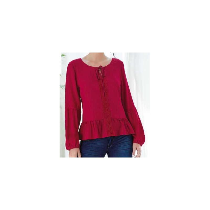 Blusa roja manga larga con resorte 015219