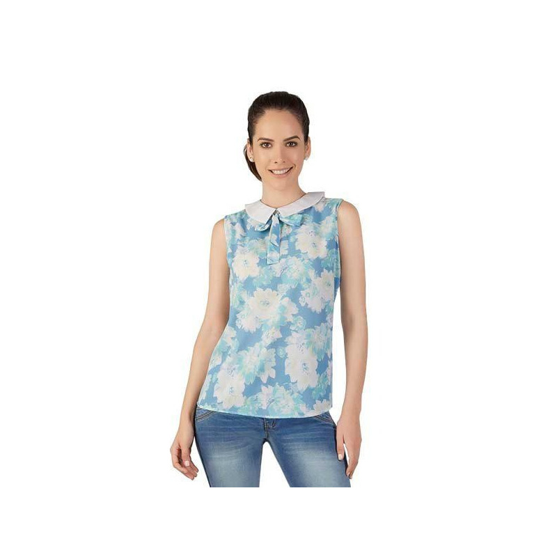 Blusa azul multicolor estampada 015474