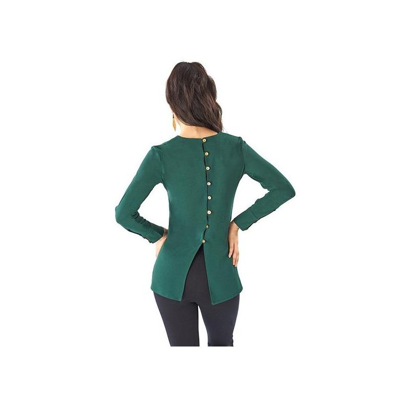 Blusa verde botonadura en espalda 014411