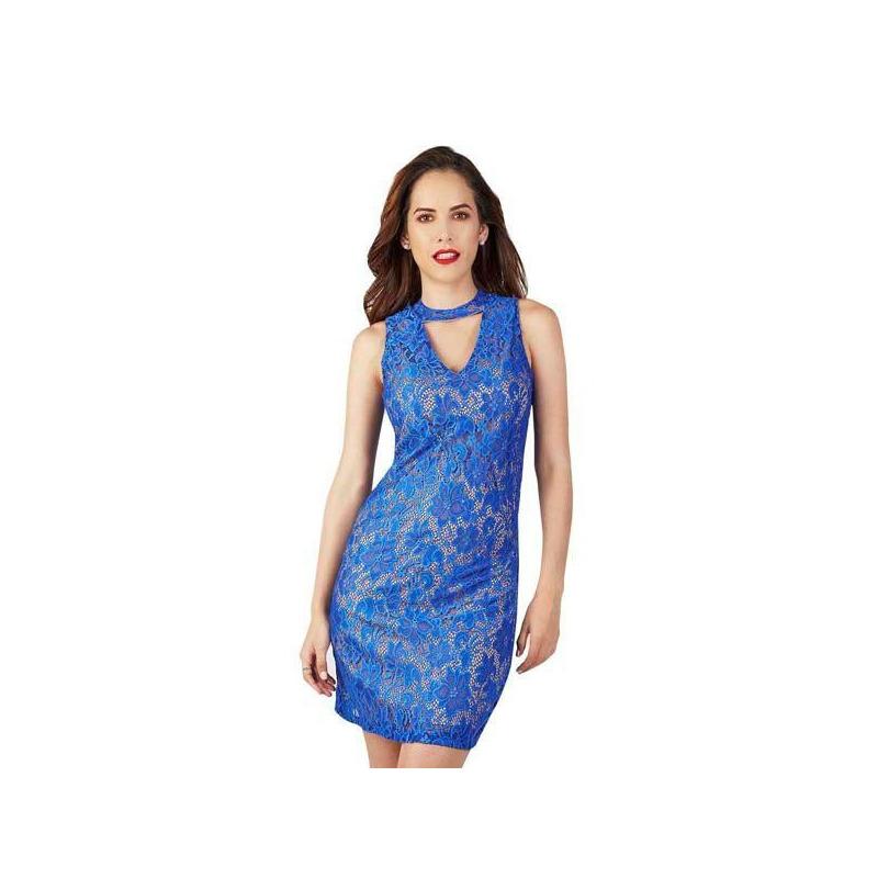 Vestido corto encaje azul 015416