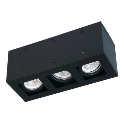 Plafon 3 Luces Con Led 7w Antideslumbrante Negro Movil