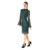 Vestido corto verde encaje con olanes  014499