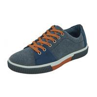 Sneakers Azul Mezclilla Con Detalles Naranja 017607