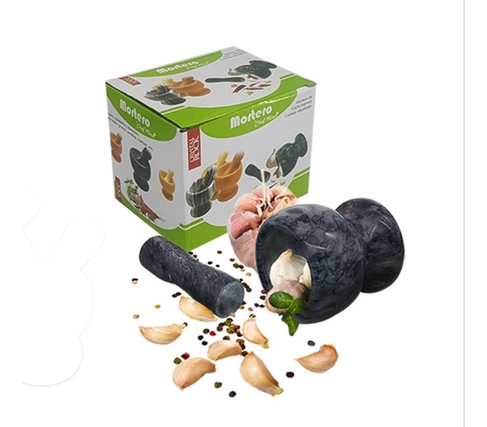 Mortero Marmol Con Pison Colores 10 Cm Semilla Macizo