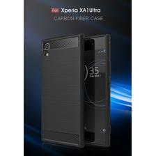 Funda Tpu Simil Carbono Sony Xa1 Plus Ultra + Glass Templado
