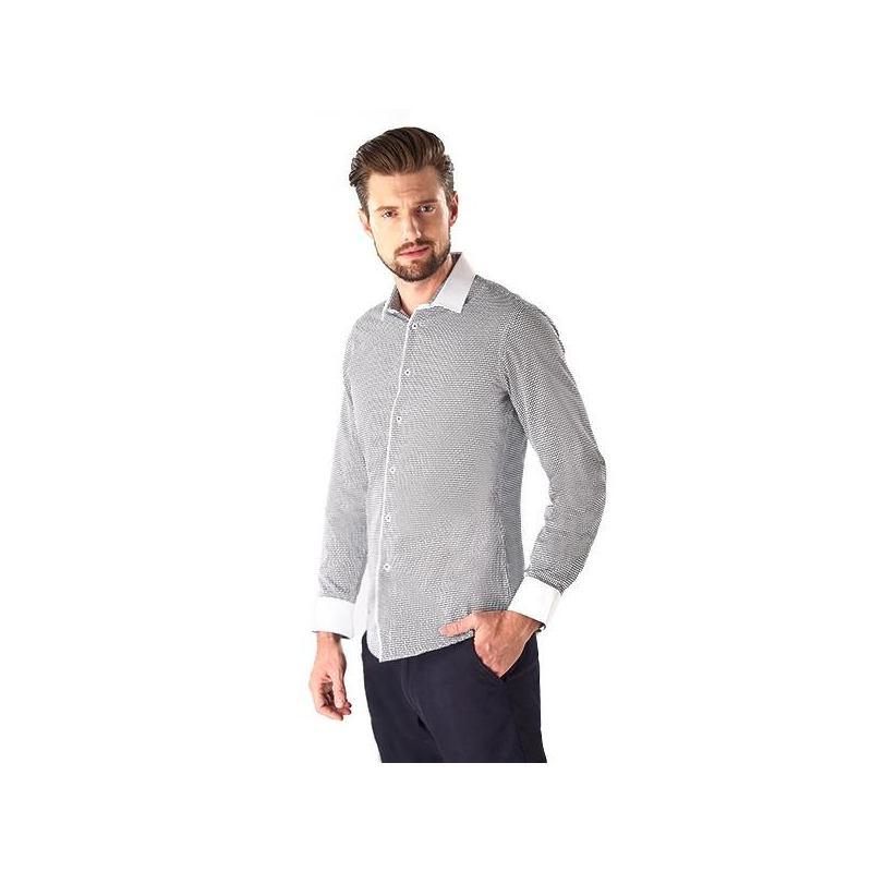 Camisa gris puño y cuello blancos 015187