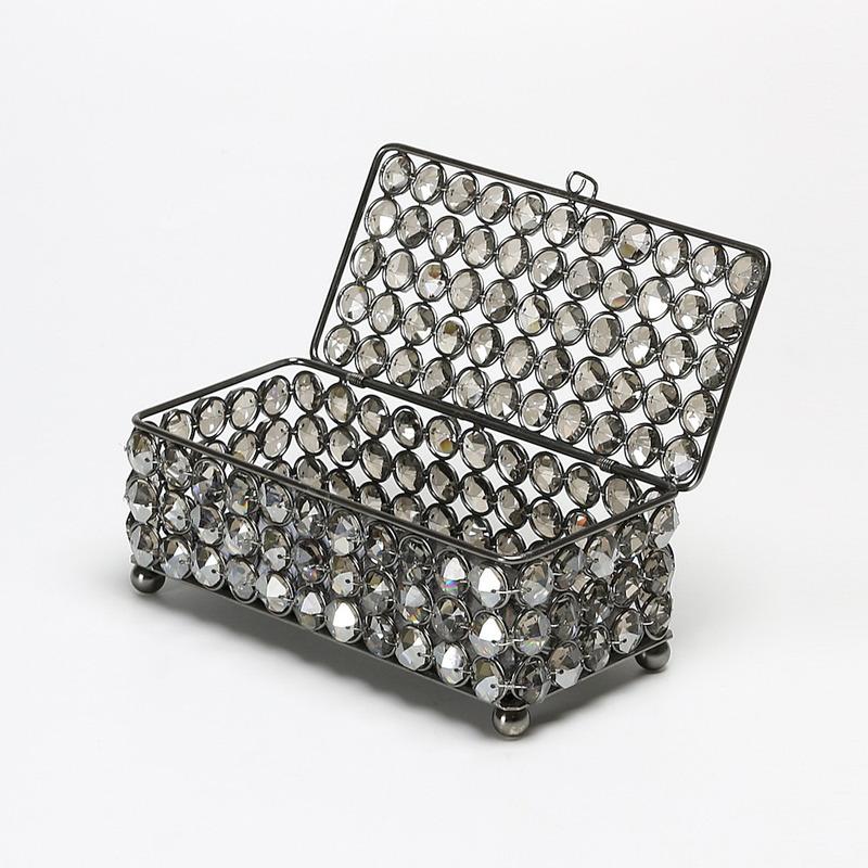 Porta Jóias Retangular de Cristal Fume com Espelho - Wolff 3103705