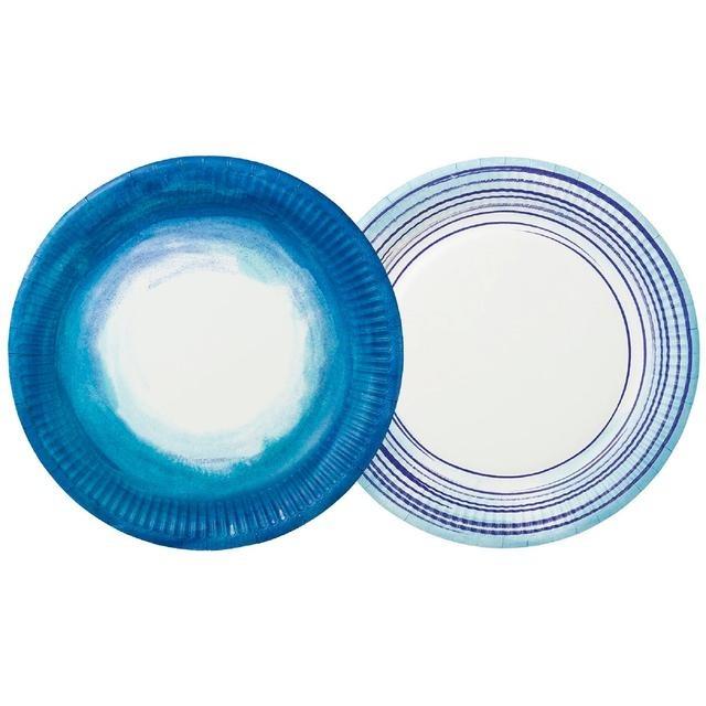 Platos Azules Ombre y Rayado