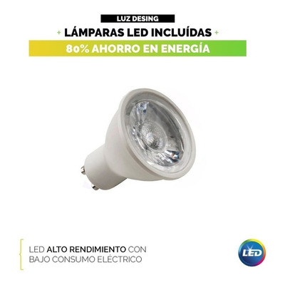 Plafon 2 Luces Con Led 7w Antideslumbrante Negro Movil