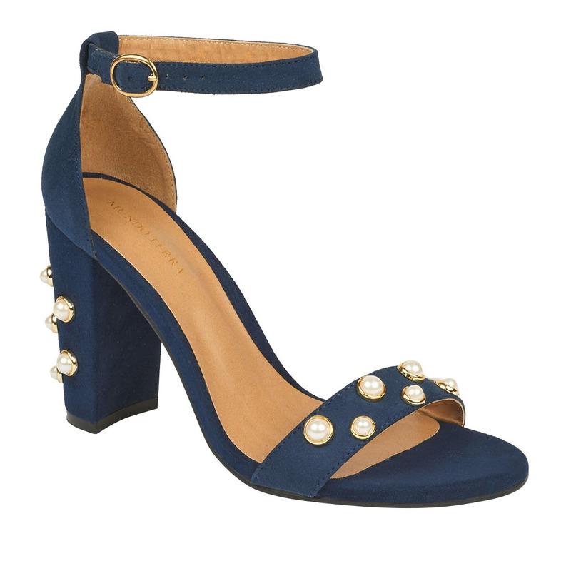 Sandalia tacón azul con pulsera y perlas  016501