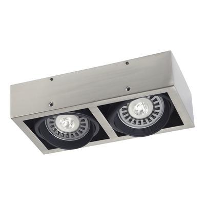 Plafon Spot 2 Luces Acero Movil Cardanico Apto Led Ar111 Sf