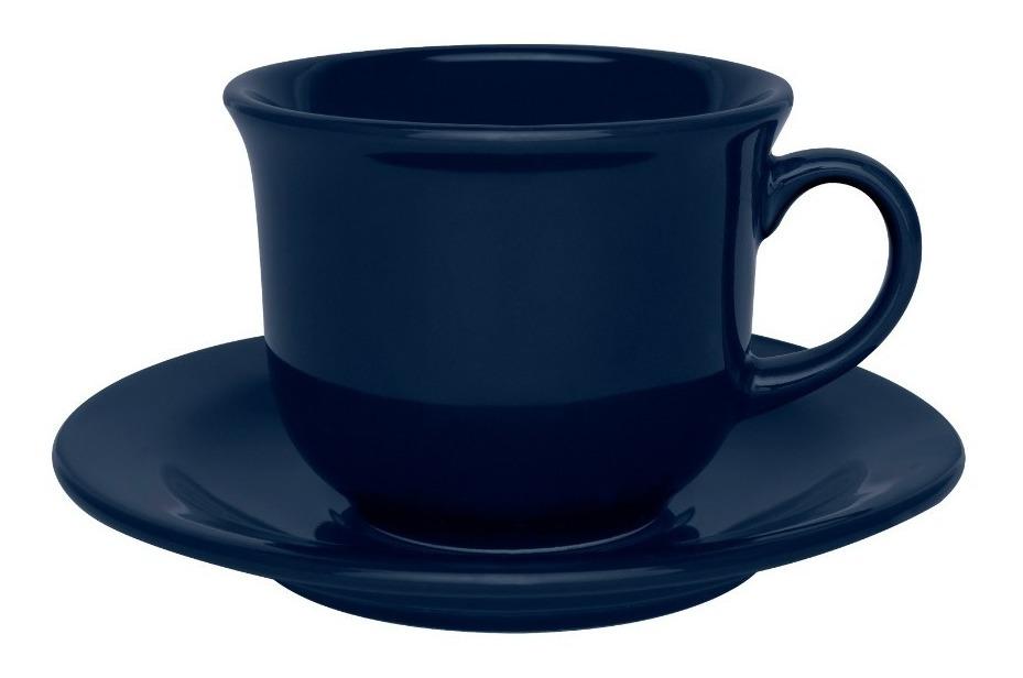 Set X 6 Tazas Plato 220 Ml Porcelana Azul Oxford Desayuno Te
