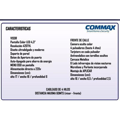 Kit Portero Visor Commax Lcd 2 Timbres Departamentos Ph Dtos