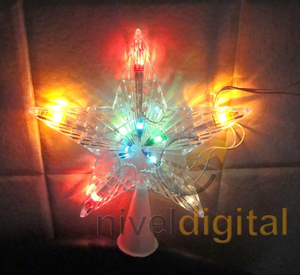 Puntal Estrella Arbol Navidad  Luz Multicolor Intermitente