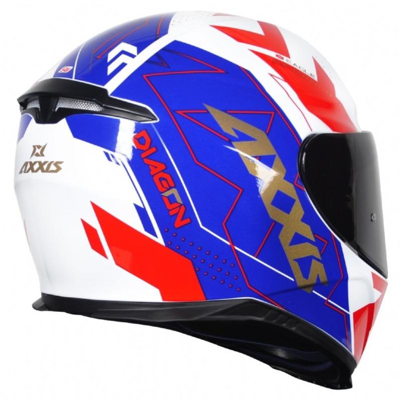 Capacete Axxis Eagle Diagon Branco Azul e Vermelho com Viseira