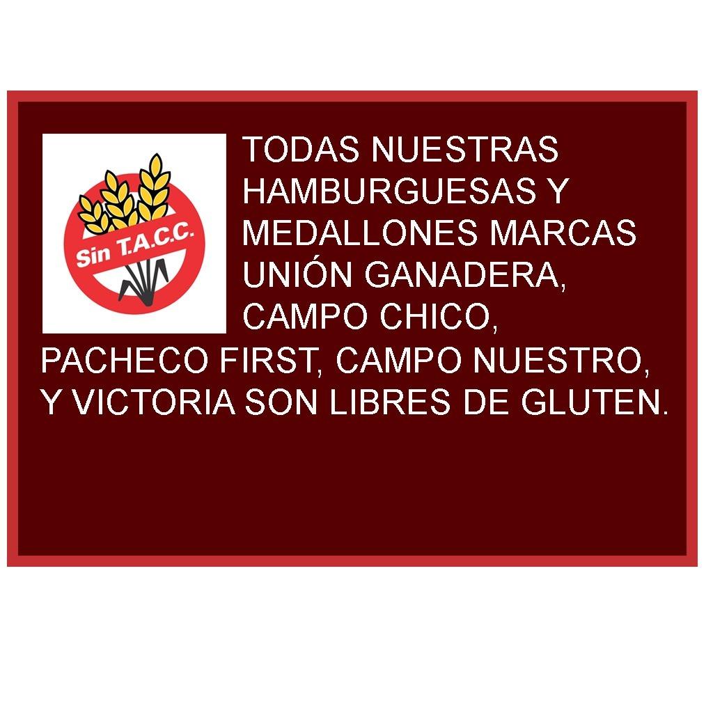 72 Hamburguesas Medallón Unión Ganadera + Fargo + Aderezo.