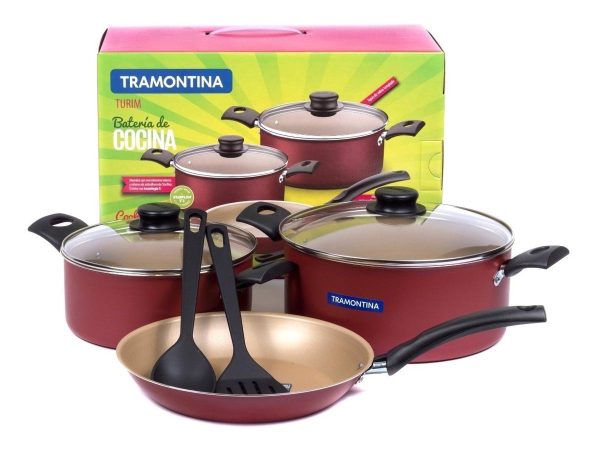 Bateria Cocina Tramontina Turim 7 Pzs Roja Teflon En Caja