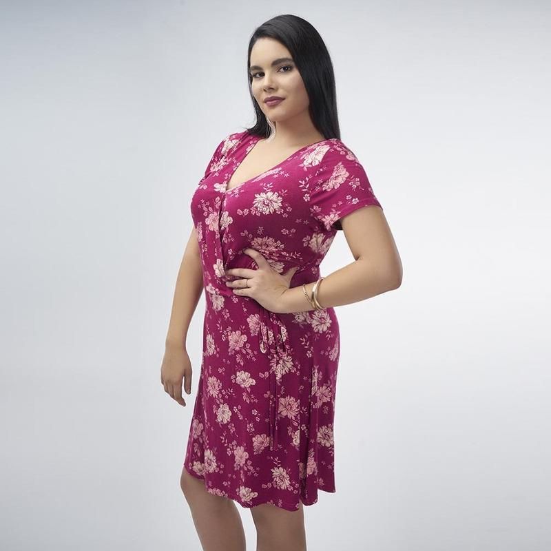 Vestido Vino Con Estampado Floral 017119