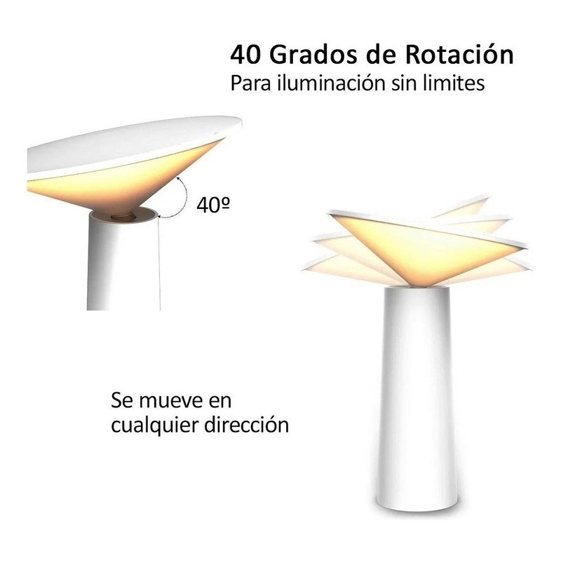 Lampara Velador Led Touch Regulable A Batería Carga Usb