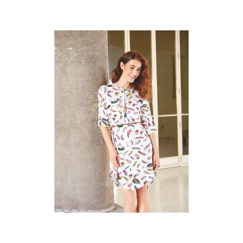 Vestido corto blanco multicolor manga 3/4 010581