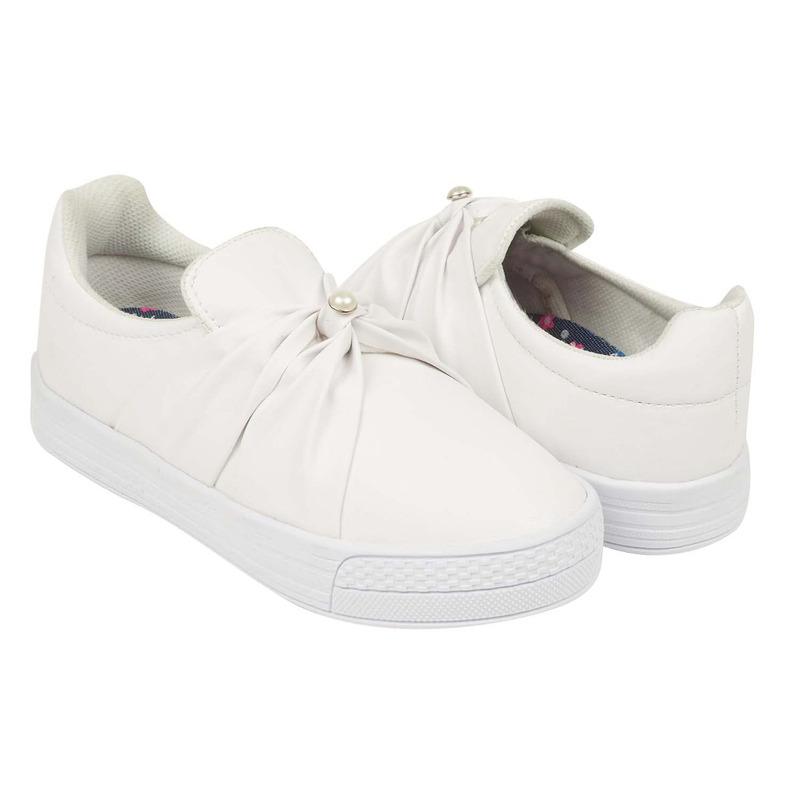 Sneakers blancos con perla 018633