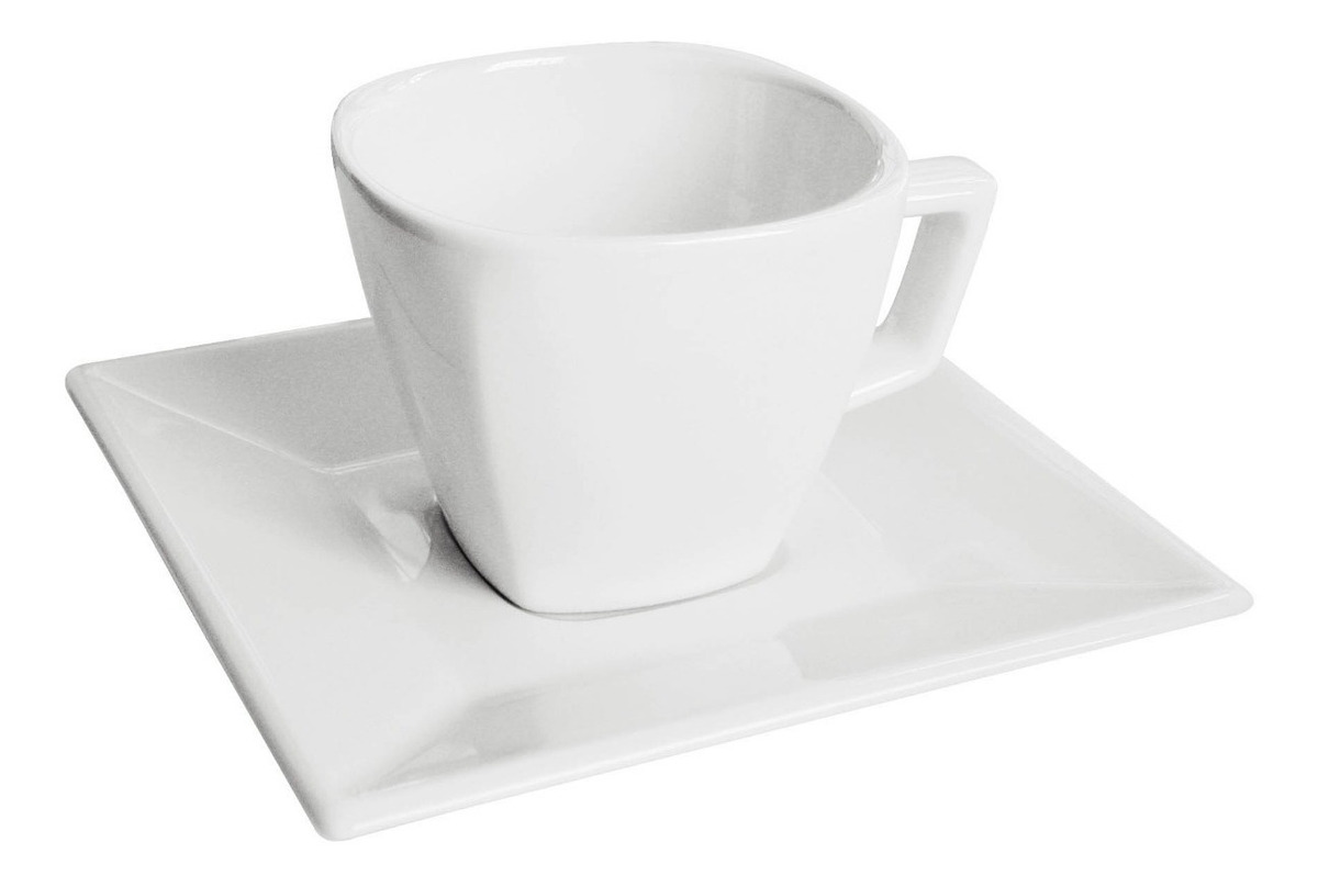 Set X12 Taza 200 Ml Porcelana Blanca Plato Cuadrado Oxford