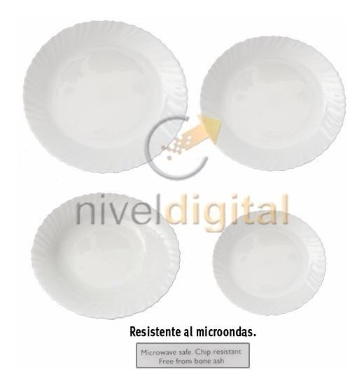 Set X 24 Platos Hondo Playo Postre Vidrio Blanco Microondas