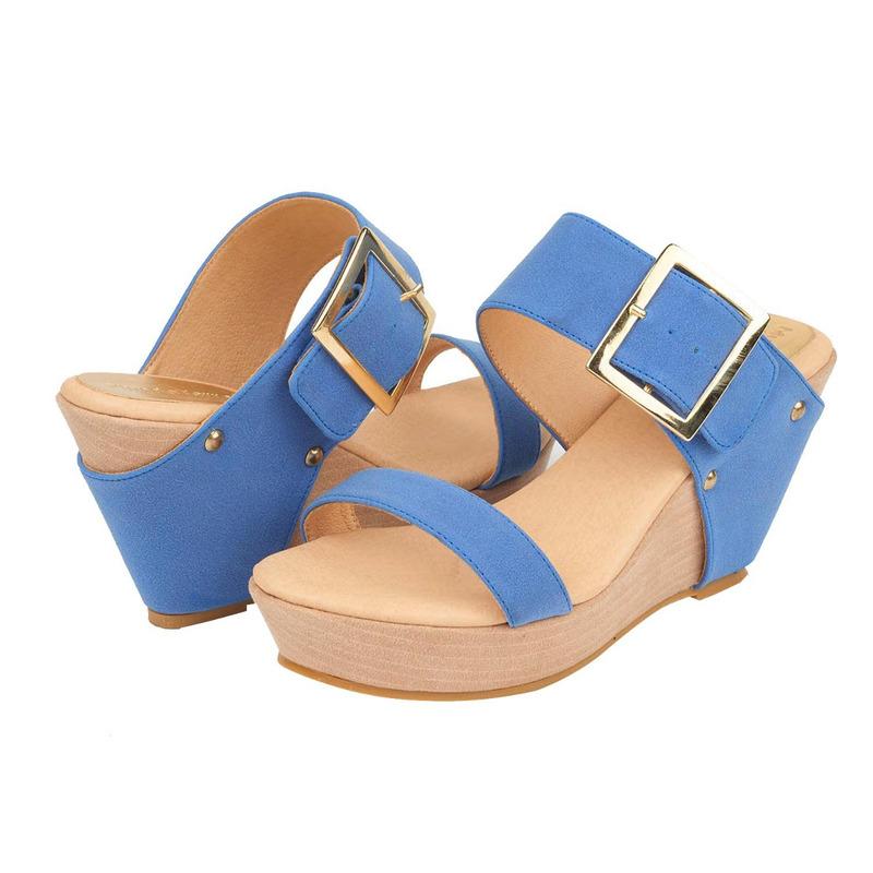 Sandalia plataforma azul con hebilla  016679