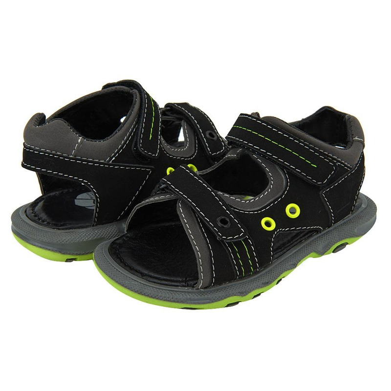 Sandalia Negra Con Detalles Verdes 014700